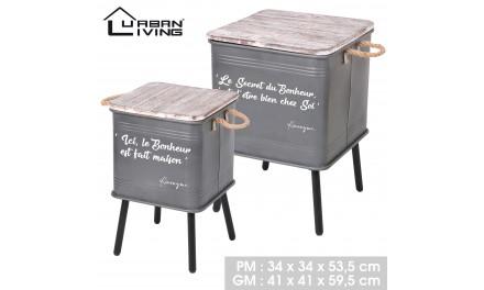 2 tables caisse métal LOFT